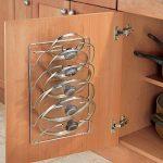 mDesign accroche casseroles mural, vertical – range couvercle pratique pour ustensiles de cuisine et poêle – porte couvercle mural maniable – métal chromé de la marque MetroDecor image 1 produit