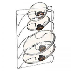 mDesign accroche casseroles mural, vertical – range couvercle pratique pour ustensiles de cuisine et poêle – porte couvercle mural maniable – métal chromé de la marque MetroDecor image 0 produit