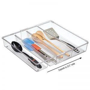 mDesign organiseur de tiroir extensible – le système d'organisation idéal pour la cuisine – bac de rangement de couverts, pour toutes sortes d'ustensiles de cuisine – 4 sections flexibles, transparent de la marque MetroDecor image 0 produit