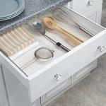mDesign organiseur de tiroir extensible – le système d'organisation idéal pour la cuisine – bac de rangement de couverts, pour toutes sortes d'ustensiles de cuisine – 4 sections flexibles, transparent de la marque MetroDecor image 1 produit