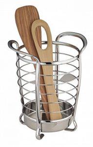 mDesign porte-ustensiles de cuisine en acier inoxydable – idéal comme support à couverts ou accessoires de cuisine – meilleure organisation de la cuisine – avec poignées pour le transport facile de la marque MetroDecor image 0 produit