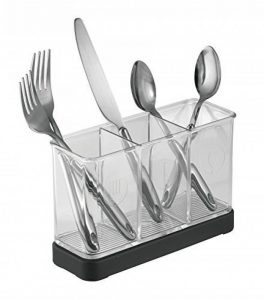mDesign range couverts – rangement pour couverts et ustensiles de cuisine – porte couvert – en plastique – noir mat / transparent de la marque MetroDecor image 0 produit