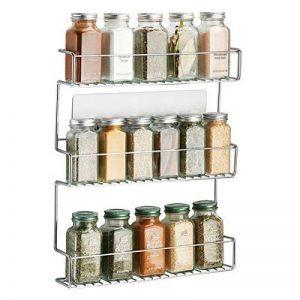 mDesign rangement épices à coller – range épices en métal avec trois niveaux – porte épices pratique et sans perçage – argent de la marque MetroDecor image 0 produit
