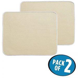 mDesign tapis égouttoir (lot de 2) – pour verres, assiettes, poêles – tapis d'évier – tapis de protection résistant qui sèche vite – en polyester – beige/ivoire de la marque MetroDecor image 0 produit