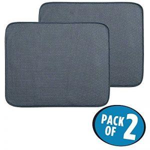 mDesign tapis égouttoir (lot de 2) – pour verres, assiettes, poêles – tapis d'évier – tapis de protection résistant qui sèche vite – en polyester – gris de la marque MetroDecor image 0 produit