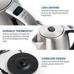 OZAVO Bouilloire Électrique Thermostat Réglable Inox avec Ecran LED Auto Arrêt 2000W 1.8L, Argent de la marque OZAVO image 2 produit
