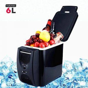 PARAMITA réfrigérateur de voiture 12 V Contenance de 6L&7.5L Camping Glacière portable de voiture réfrigérateur Cooler et chauffe réfrigérateur électrique pour voiture camion Bateau de voyage (Noir-6L) de la marque PARAMITA image 0 produit