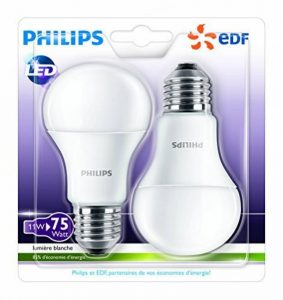Philips Lot de 2 Ampoules LED Standard Culot E27 (Grosse Vis) 11W Consommés Équivalent 75W Partenariat Philips/EDF de la marque Philips Lighting image 0 produit