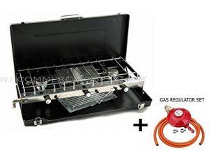 pliable double Réchaud à gaz 2brûleurs Camping en plein air double usage cuisinière Grill Coque avec régulateur de propane de nouvelles de la marque NJ image 0 produit
