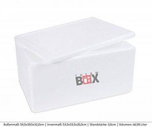 Polystyrène Boîtes dans différentes tailles. 2à 88L L/XXL Box Boîte thermique Glacière Isotherme Noir et Blanc de qualité professionnelle XL 46.59L 59.5x39.5x32.0cm d=3.0cm de la marque THERM-BOX image 0 produit