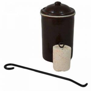 Pot en grès et pierre allume-feu de la marque Outils et Nature image 0 produit