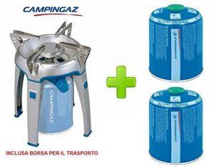 Réchaud de camping et voyage modèle Bivouac marque campinga avec poche pour le transport–Doté de Étui pour le transport + 2cartouches à gaz cv470de 450gr de la marque ALTIGASI image 0 produit