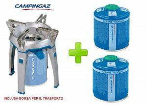 Réchaud de camping et voyage modèle Bivouac marque campinga avec poche pour le transport–Doté de Étui pour le transport + 2cartouches à gaz de 240gr de la marque ALTIGASI image 0 produit