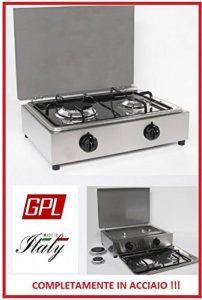 Réchaud de table en acier Parker 2feux alimentation gaz GPL (bouteilles) avec valve de sécurité pour usage intérieur de la marque CASELLATO image 0 produit