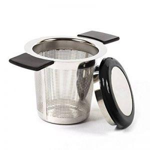 ReaLink Filtre à Thé Acier Inoxydable Infuseur à Thé Passoire à Thé Avec Trou Fin poignée en silicone et couvercle Pour Mug Tasse Théière Ou Les Herbes Aromatiques En Cuisine (Black) de la marque ReaLink image 0 produit