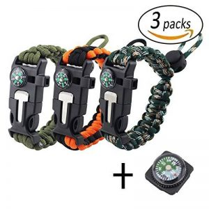 REKYO Bracelet de survie Paracord Bracelet, Bracelet d¡¯urgence en plein air, Kit de survie Gear avec Flint allume-feu, racleur, boussole, sifflet et boucle de corde de Parachute ¡ de la marque REKYO image 0 produit