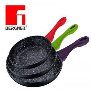 Renberg - 2525 - Color Cook! Set original de 3poêles avec revêtement en pierre de lave noire avec base de cuisson en nid d'abeille et manches colorés doux au toucher. Diamètre : 20/24/28cm–Poêles anti-adhésives anti-rayures - Design moderne–Fonds a image 0 produit