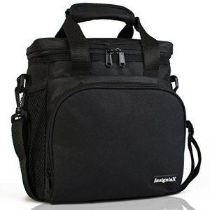 Sac Isotherme Repas S1: InsigniaX Thermos Lunch/Dejeuner Bag/Box Pour Les Hommes Femme Fille Garcon Bebe Enfant Travail Avec Tupperware Taille 25,4 x 13 x 23,3 cm (Grand, Noir) de la marque InsigniaX image 0 produit