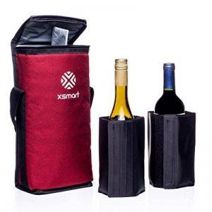 Sac isotherme XSmart Slim avec deux refroidisseurs de liquide / bouteille de glace multifonction pour sacs à dos et sacs de golf Stockage en plein air isotherme de vin froid pour une longue durée, isolé et imperméable, souple et pliable (Rouge) de la marq image 0 produit