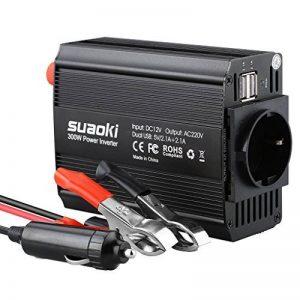 Suaoki - 300W Convertisseur DC 12V AC 220V-240V, Transformateur de Tension Dual USB Ports 5V/2.1A, Corps en Aluminium, Attaches de Batterie de Voiture et Chargeur de Voiture, Noir de la marque SUAOKI image 0 produit