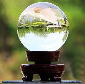 Sumnacon Boule en verre claire pour Photographie, Décoration - Sans bulle, Transparent avec le Support en Bois (60mm,80mm,100mm) (60mm) de la marque Sumnacon image 0 produit
