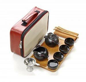 T Tocas(tm) Portable Théière traditionnelle avec Tasses de thé pour Kungfu thé/thé chinois/thé japonais, en Théière en Céramique chinoise, 10/paquet (Noir) de la marque T Tocas image 0 produit