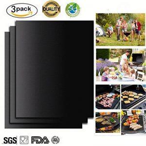 Tapis Barbecue, 3 PCS Feuille Pour Barbecue Tapis de Cuisson Réutilisable en Fibre de Verre Mat 40*33 cm Noir de la marque LuckyStart image 0 produit