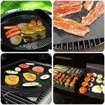 Tapis Barbecue, 3 PCS Feuille Pour Barbecue Tapis de Cuisson Réutilisable en Fibre de Verre Mat 40*33 cm Noir de la marque LuckyStart image 4 produit