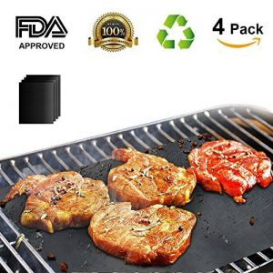 Tapis de Cuisson, TACKLIFE Set de 4 Tapis Barbecue BBQ , 100% anti-adhérent, Tapis Feuille de Cuissonréutilisable et facile à nettoyer, certifié par FDA, Barbecue sain, convenant pour Barbecue à Gaz, Charbon ou Four électrique -41 x 33 cm GBGM1A de la ma image 0 produit