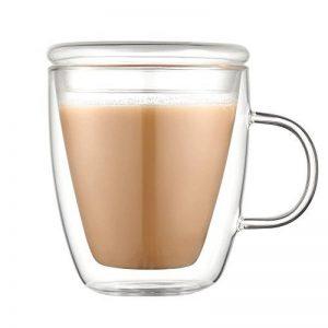 Tasse double paroi avec couvercle en verre 350ml - Isolation thermique, résistance à la chaleur, pour boire du café, lait, thé, etc., Verre, transparent, 350 ml Mug de la marque YiSherry image 0 produit
