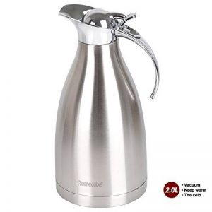 Thermos, Homecube Bouteille Isotherme Cafetière Pot au Jus / Lait / Thé en Acier Inoxydable 2L 65 once (Argent) de la marque Homecube image 0 produit