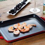 Tivoli / BBQ Grill / Plancha / Rectangulaire / Rouge / 32,5 x 22 cm / Convient pour tous les types de cuisson/ grill en fonte pour induction / émaillée extérieur de la marque Tivoli image 2 produit