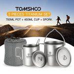 TOMSHOO Titane 3 Pièces - Titanium Pot 750ml + Titane Tasse 450ml + Titanium Spork de la marque TOMSHOO image 4 produit