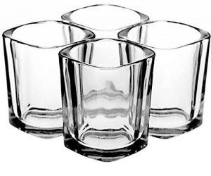 Verre à liqueur Lot par Trendy Bartender–56,7gram (6cl) carré Verre à liqueur de base solide pour whisky, Tequila, Vodka–Flacon avec chiffon de polissage et bec verseur avec bec conique–Emballage de la marque Trendy Bartender image 0 produit