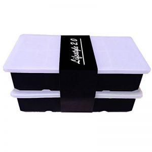 XXL bac a glaçon silicone avec couvercle I 2 pièce I grand 5x5cm (2 inch) glaçons I -40 – 260°C I sans BPA I Lifestyle 2.0 de la marque Lifestyle 2.0 image 0 produit